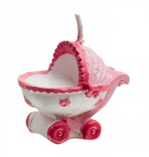 Bougie Poussette Rose - Baby Shower Naissance