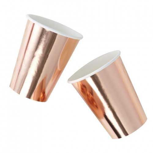 8 Gobelets Premium en Papier Rose Cuivré Rose Gold Uni