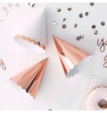 6 Mini Chapeaux Rose Cuivré Rose Gold Animation