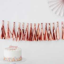 Guirlande de tassels rose cuivré rose gold - Décoration de fête