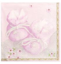 Grandes Serviettes Premium Papier Rose Avec motifs chaussons de Bébé et fleurs