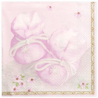 Serviettes Papier Rose Fleurs Organisation Fete Motifs Chaussons Bebe