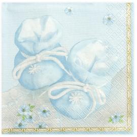 Grandes Serviettes Premium Papier Bleu Avec motifs chaussons de Bébé et fleurs