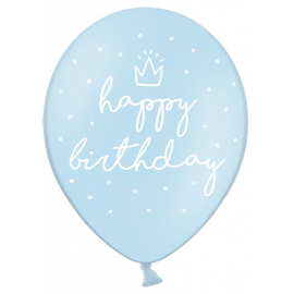 Ballons Latex Happy Birthday Joyeux Anniversaire Bleu Pastel
