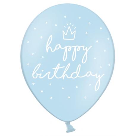 Ballons Latex Happy Birthday Joyeux Anniversaire Bleu Pastel