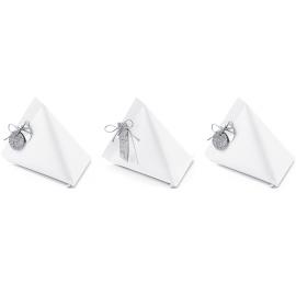 6 Contenants à Dragées Papier Ballotin Blanc Argent