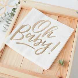 """Serviettes Premium """"Oh Baby"""" Bland et doré"""