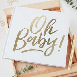 """Livre d'or - Premium """"Oh Baby"""" Blanc et doré"""