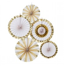 5 Grandes Rosaces Blanc et Doré Eventail de Fête Décoration
