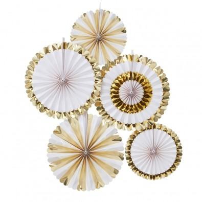 Rosace Eventail Papier Or Dore Brillant 36cm Decoration De Fete
