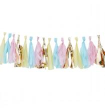 Guirlande de 16 Tassels Pastel & Doré - Décoration de fête