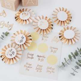 6 Badges Cocardes Future Maman et Invités de Baby Shower Dorée