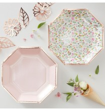 Grandes assiettes Liberty Rose Gold - Collection décoration florale