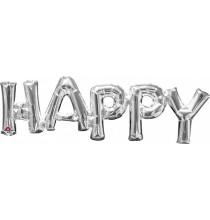 Ballons Gonflés à l'air Lettres Happy Argent Brillant