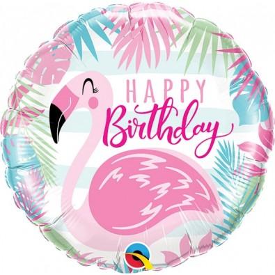 Ballon Rond Flamant Rose Flamingo & Tropiques
