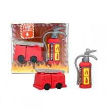 2 Gommes Camion et Extincteur - Anniversaire Pompier