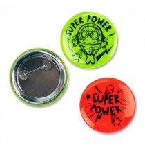 Badge Fluo Super Power  - Anniversaire Superhéros