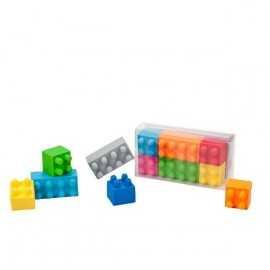 6 Gommes Blocs thème Anniversaire Lego et Bloc Party