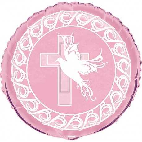 Ballon Décoration Baptême Rose Croix