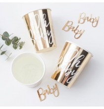 "Gobelets Premium ""Oh Baby"" Blanc et doré"