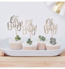 """Piques Cup Cakes """"Baby"""" Dorés - Décorations de table"""
