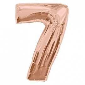 Ballon Géant Chiffre 7 Sept - Numéro Décoration Anniversaire Rose Cuivré Rose Gold