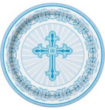 Grandes Assiettes Baptême Communion Croix Bleue