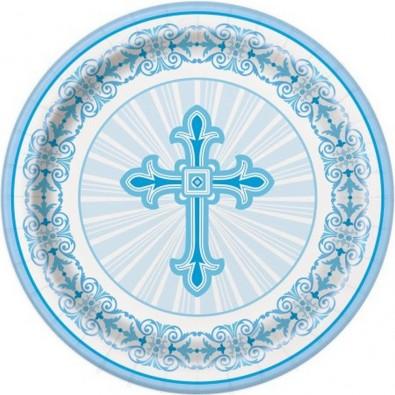 Petites Assiettes Baptême Communion Croix Bleue