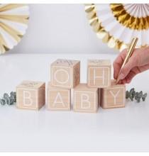 """Livre d'or Cubes - Premium """"Oh Baby"""" Blanc et doré"""