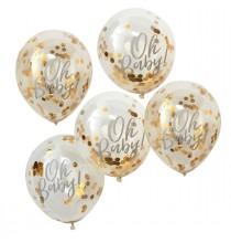 5 Ballons Oh Baby avec Confettis Dorés Premium Fête