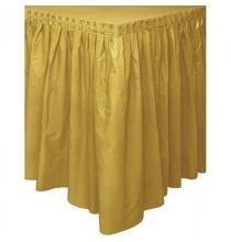Jupe de Table Plastique Rectangulaire Dorée Lavable