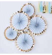 5 Rosaces Eventails Premium Bleu Pastel et Doré