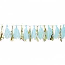 Guirlande de 16 Tassels Bleu Pastel & Doré - Décoration de fête