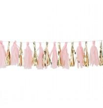 Guirlande de 16 Tassels Rose Pastel & Doré - Décoration de fête