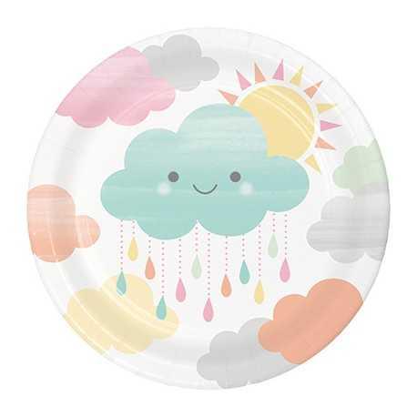 Petites assiettes thème Nuage & Soleil Pastel