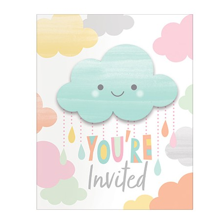 Invitation à thème Nuage & Soleil Pastel