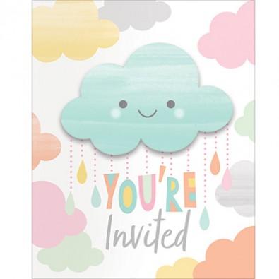 Carte D Invitation Invite Nuages Soleil Qui Sourit Pastel Pluie