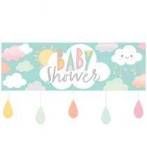 Banderole Géante Baby Shower thème Nuage & Soleil Pastel