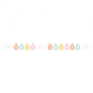 Banderole à fanions Baby Shower thème Nuage & Soleil Pastel