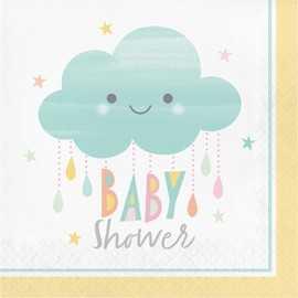 Serviettes Baby Shower thème Nuage & Soleil Pastel