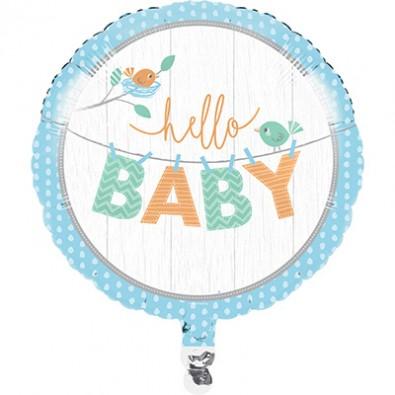 Ballon Alu Rond Hello Baby - Petit Oiseau Bleu