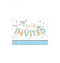 Invitation Hello Baby - Petit Oiseau Bleu