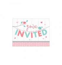 Carte d'invitation Hello Baby - Petit Oiseau Rose