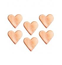 6 Coeurs décorations en sucre rose gold - rose cuivré