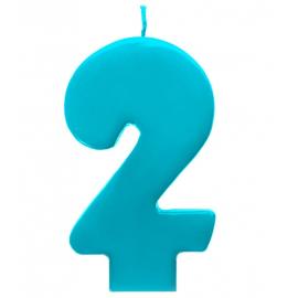 Bougie Bleu Turquoise 2 Chiffre Deuxième Anniversaire