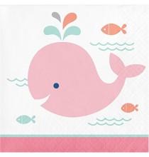 Grandes Serviettes en Papier Baleine Rose Pastel et Mint