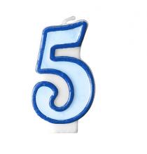 Bougie Bleue 5 Chiffre Cinq - Cinquième Anniversaire