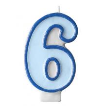 Bougie Bleue 6 Chiffre Six - Sixième Anniversaire