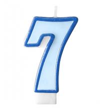 Bougie Bleue 7 Chiffre Sept - Septième Anniversaire