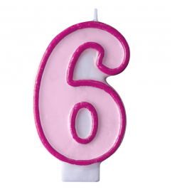 Bougie Rose Chiffre 6 Six - Anniversaire Fille